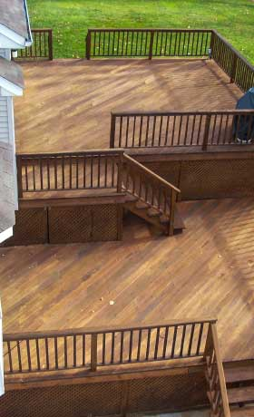 finished deck cleaning and staining
